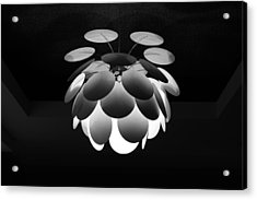Acrylic Print featuring the photograph Ornamental Ceiling Light Fixture - Grayscale by Debi Dalio