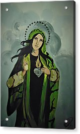 Acrylic Print featuring the painting Our Lady Of Veteran Suicide by MB Dallocchio