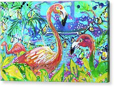 Outdoor Flamingo Party Acrylic Print