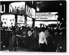 Outside The Fillmore East Acrylic Print by Fred W. McDarrah