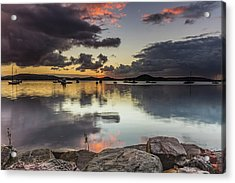 Overcast Waterscape With Hints Of Colour Acrylic Print