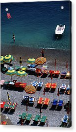 Overhead Of Unmbrellas, Deck Chairs At Acrylic Print by Dallas Stribley
