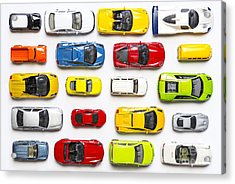 Overhead View On Colorful Car Toys Acrylic Print