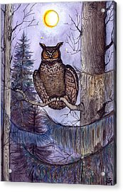 Acrylic Print featuring the painting Owl Amid The Evergreen by Katherine Miller