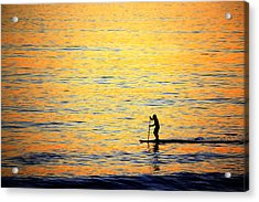 Acrylic Print featuring the photograph Paddle Boarder Malibu by John Rodrigues