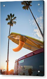 Paddleboard On Top Of Car With Palm Acrylic Print