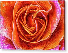 Acrylic Print featuring the mixed media Painted Rose by Onyonet  Photo Studios