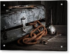 Painted Toolbox And Chain Acrylic Print