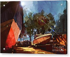 Painting Of Boat At The Dock For Acrylic Print