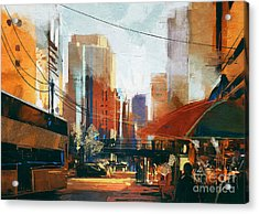 Painting Of City Street In The Acrylic Print
