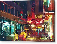 Painting Of Colorful Building And City Acrylic Print