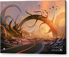 Painting Of Fantasy Landscape With A Acrylic Print