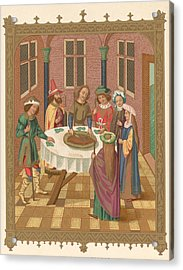 Painting Of Jewish Passover Seder Acrylic Print by Kean Collection