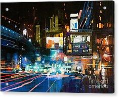 Painting Of Modern Urban City At Acrylic Print