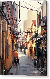 Painting Of Narrow Alleyway In Old Acrylic Print
