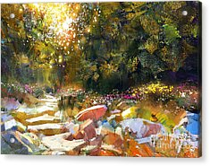 Painting Of Pathway With Trees And Acrylic Print