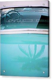 Palm Tree Reflection On Car Acrylic Print