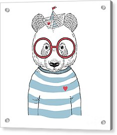 Panda Sailor, Nautical Poster, Hand Acrylic Print
