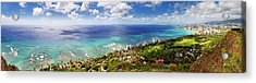 Panorama Of Waikiki Beach Acrylic Print