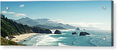Panoramic Shot Of Cannon Beach, Oregon Acrylic Print by Kativ