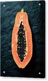 Papaya Cross-section On Dark Slate Acrylic Print