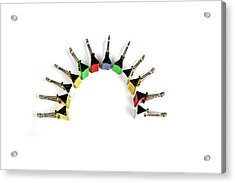 Paper Clips Arranged In A Half Circle Acrylic Print by Visage