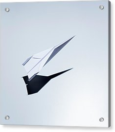 Paper Plane Taking Off Acrylic Print by Jorg Greuel