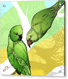 Acrylic Print featuring the digital art Parakeets by Lucas Boyd