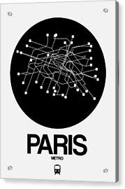 Paris Black Subway Map Acrylic Print