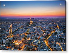 Paris, France At Sunset. Aerial View On Acrylic Print