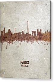 Paris France Rust Skyline Acrylic Print
