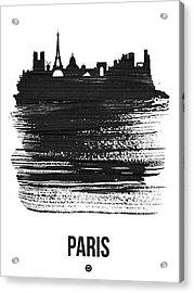Paris Skyline Brush Stroke Black Acrylic Print