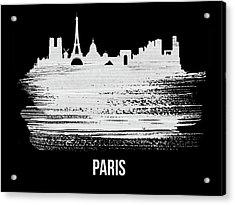Paris Skyline Brush Stroke White Acrylic Print