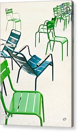 Parisian Metallic Chairs In The City Acrylic Print