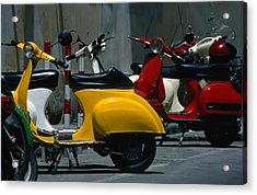 Parked Scooters Acrylic Print by Martin Moos