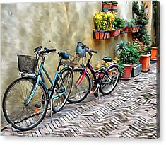 Acrylic Print featuring the photograph Parked Together Pienza by Dorothy Berry-Lound