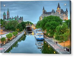 Parliament Hill  On The Rideau Canal Acrylic Print
