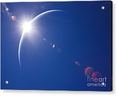Partial Solar Eclipse With Blue Sky And Acrylic Print