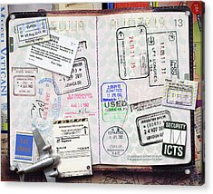 Passport With Stamps Acrylic Print