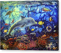 Past Memories New Beginnings Dolphin Reef Acrylic Print