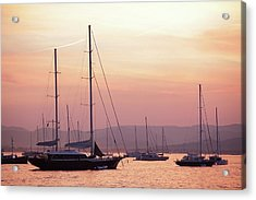 Pastel Dusk Sky And Yachts Acrylic Print by Secablue