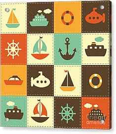 Patchwork Background With Sea Transport Acrylic Print