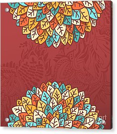 Pattern With Autumn Foliage Vector Acrylic Print