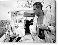 Paul Newman On A Fishing Boat Acrylic Print