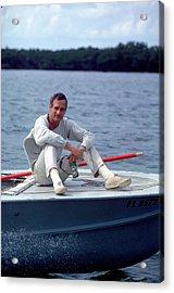 Paul Newman On Boat Acrylic Print by Mark Kauffman
