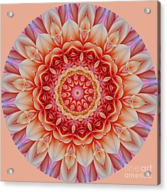 Peach Floral Mandala Acrylic Print