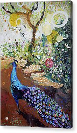 Peacock On Path Acrylic Print