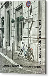 Pedal Through Rome Quote Acrylic Print by JAMART Photography