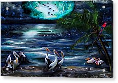Pelicans On The Shore Acrylic Print