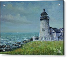 Acrylic Print featuring the painting Pemaquid Point Lighthouse by Katalin Luczay